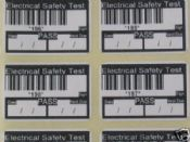 1000 PAT Test Pass Labels, each with Unique Barcode ID.